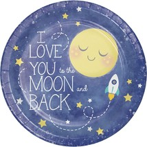 """I love You Moon and Back 8 9"""" Lunch Paper Plates Baby Shower Birthday Party - $3.89"""