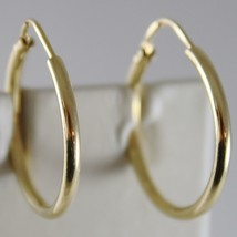 18K YELLOW GOLD EARRINGS CIRCLE HOOP 22 MM 0.87 INCHES DIAMETER MADE IN ITALY image 1