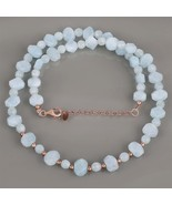 Aquamarine Necklace Faceted Gemstone Beads in Rose Gold Plated 925 Silve... - $54.99