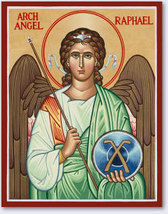 "Archangel Raphael Icon 3.9"" x 6"" Wooden Plaque With Lumina Gold - $39.95"