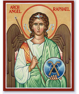 """Archangel Raphael Icon 3.9"""" x 6"""" Wooden Plaque With Lumina Gold - $39.95"""