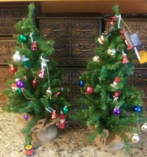 "Primary image for 2 Vintage 17"" Table Top CHRISTMAS TREES Vintage Glass Wood & Plastic Ornaments"