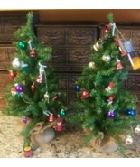 "2 Vintage 17"" Table Top CHRISTMAS TREES Vintage Glass Wood & Plastic Orn... - $10.88"