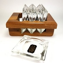 Atomic Glass Ashtray Mid Century Modern 6 Set Teak Holder MCM Vintage Re... - $74.99