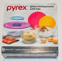 Pyrex Glass 4 Sculpted Mixing Bowls with 4 Colored Lids Various Sizes In Box - $55.00
