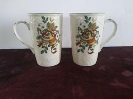 Mikasa English Countryside DP005 Festive Spirit 2 Cappuccino Mugs Christ... - $23.36