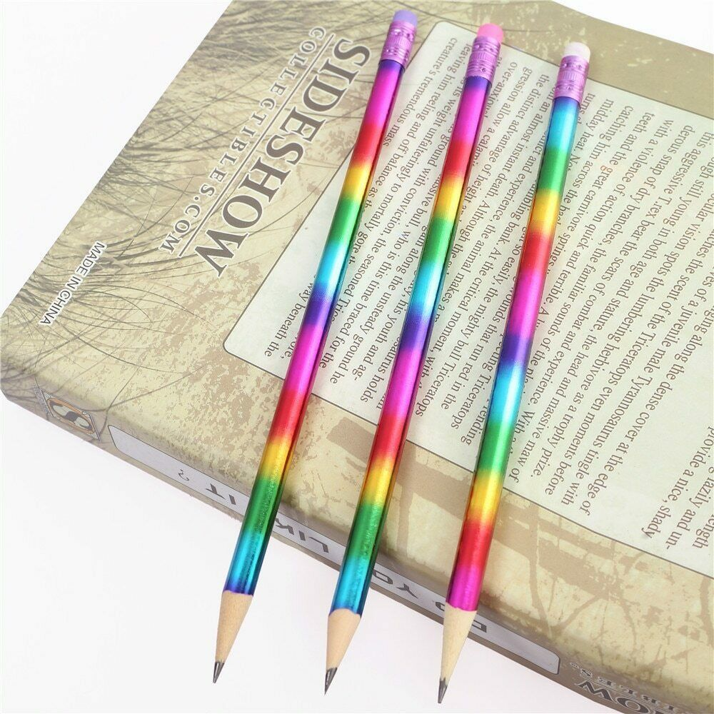 Pencil Rainbow Wood Environmental Protection Bright Color School Office Writing image 2