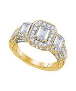 14k Yellow Gold Emerald Diamond 3-stone Bridal Wedding Engagement Ring 2... - £4,060.58 GBP