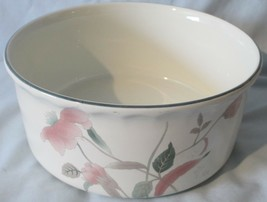 """Mikasa Silk Flowers White Green and Pink F3003 8"""" Souffle Dish AS IS - $19.79"""