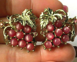 Vintage Gold Tone Fuschia Moonstone Rhinestone Grape bunch Fruit Clip Earrings