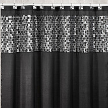 Popular Bath Mosaic Stone Black 70 x 72 Fabric Bathroom Shower Curtain w... - $28.79
