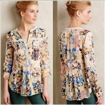 MAEVE ANTHROPOLOGIE ABELLA PINTUCK FLORAL TOP BLOUSE CROCHET 2 XS  ROLL ... - $29.25