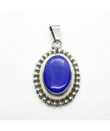 Chunky Mexico Sterling Silver 925 Blue Lapis Lazuli Pendant 24 Grams Fre... - $29.69