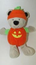 Cartersplush tan brown teddy bear in pumpkin costume rattle baby soft to... - $4.94