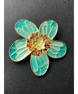 Estate Bluish Green Enamel & Goldtone Retro Hippie Flower Pin Brooch – 1... - $9.49