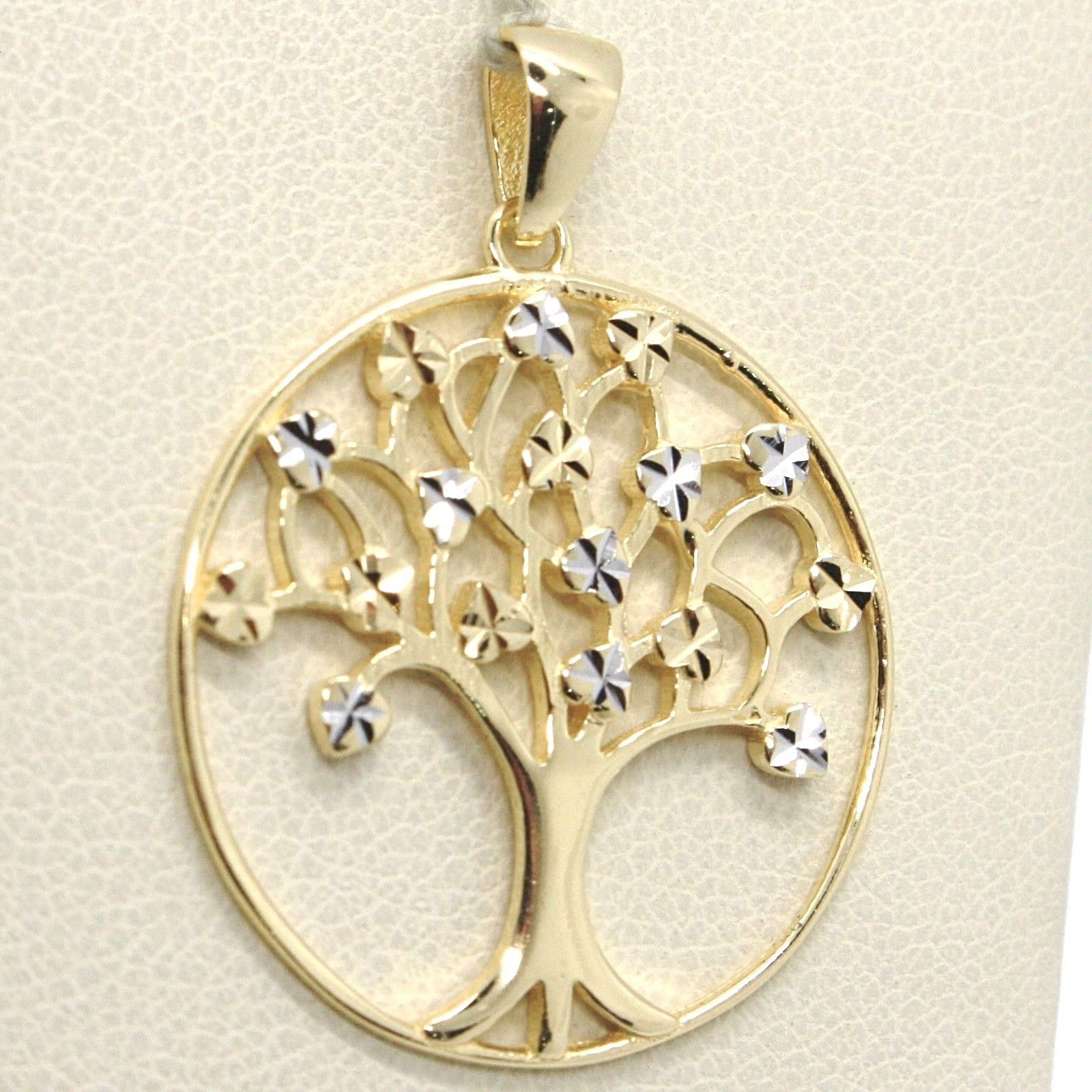 YELLOW GOLD PENDANT WHITE 750 18K, TREE OF LIFE, LEAVES, MADE IN ITALY
