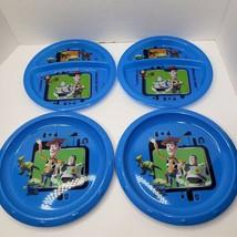 ZAK DESIGNS Disney TOY STORY Set of 4 Plastic Plates Buzz Lightyear Wood... - $17.49