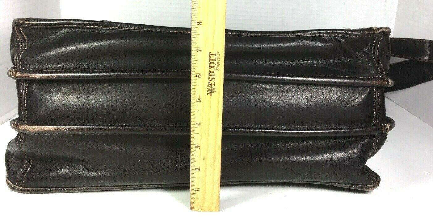 Santa Fe Dilana Vintage Dark Brown Leather Briefcase Laptop Bag – Distressed image 5