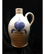 Vintage Bastine Studio Pottery Jug 1984 Gray & Blue Heart Salt Glaze Signed - $16.00