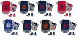 MLB Baseball Property Infant Boy's Layette Set Bodysuit Bib Booties Baby NEW