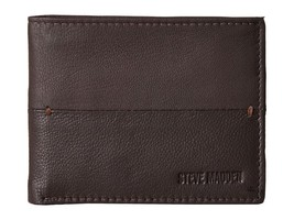 Steve Madden Men's Premium Leather Credit Card Id Wallet Brown N80027/01