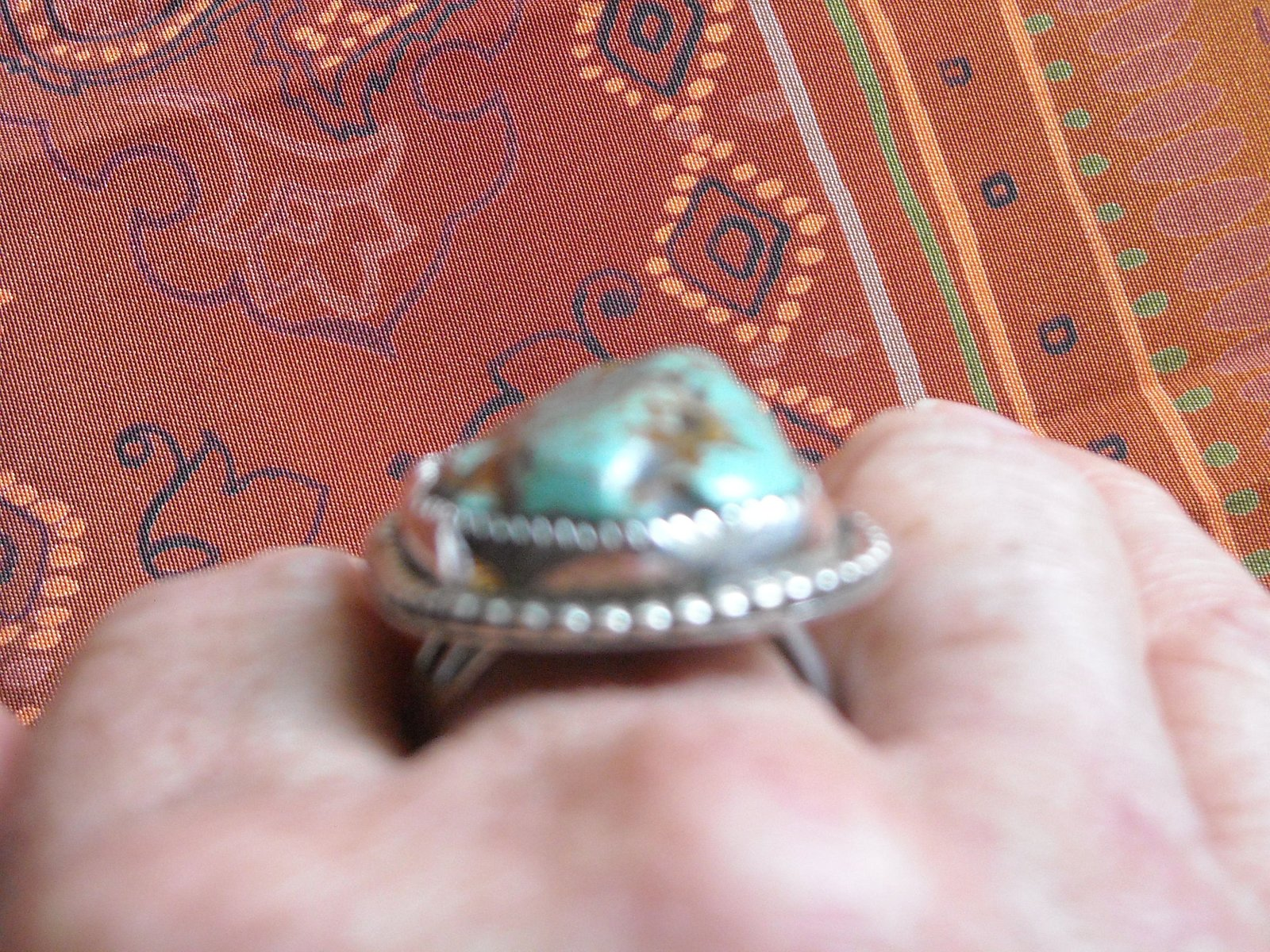 Vintage Ring Sterling Silver Handcrafted Polished Green Turquoise (10.5)