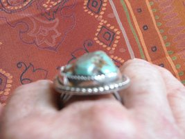 Vintage Ring Sterling Silver Handcrafted Polished Green Turquoise (10.5) image 5
