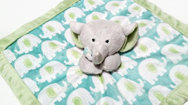 Carter's Lovey Security Blanket Baby Elephant Blue Green Patterns Plush ... - $18.37