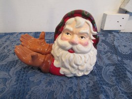 Vtg Father Christmas Santa Claus Head Arms Hands Candy Dish Card Holder ... - $28.82