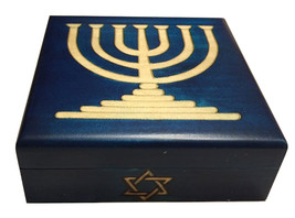 Blue Judaica Keepsake Menorah with Star of David Polish Handmade Wood Box - $29.69