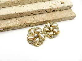 Vintage Signed BSK Faux Pearl AB Rhinestone Gold Flower Clip On Earrings B68 - $16.99