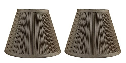 Urbanest Set of 2 Mushroom Pleated Softback Lamp Shades, Faux Silk, 5-inch by 9-