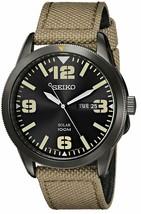 Seiko Men's SNE331 Sport Solar Black Stainless Steel Watch with Beige Nylon Band - $116.95