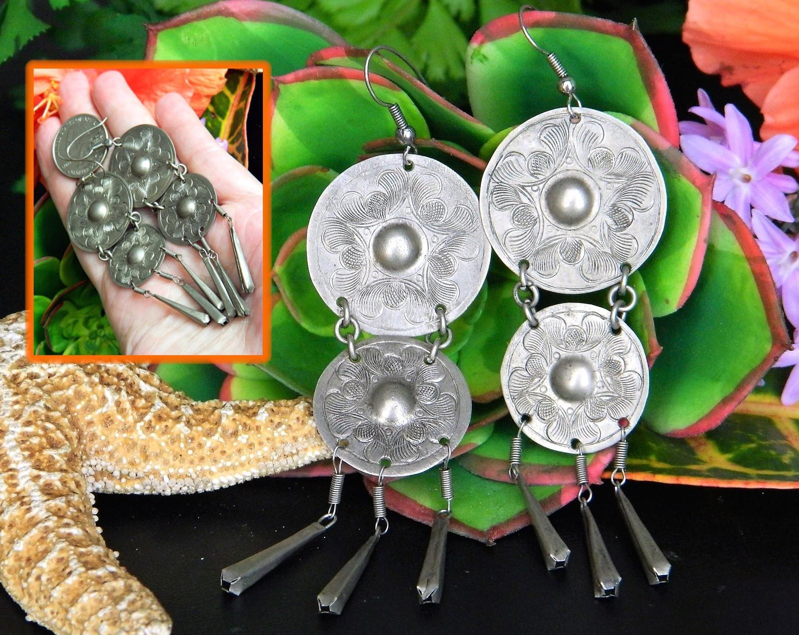 Vintage Boho Gypsy Earrings Long Dangles Flowers Etched Pierced Silver