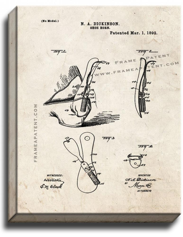 Primary image for Shoe Horn Patent Print Old Look on Canvas