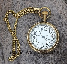 Design Nautical Solid Brass Pocket Watch With Chain Vintage Working Watc... - £6.80 GBP