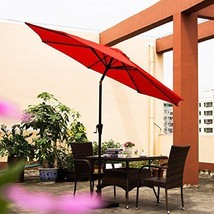 Patio Umbrella Tilt Aluminum 9FT Outdoor Market Umbrella With Crank 8 St... - $78.52