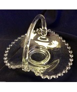 IMPERIAL GLASS CANDLEWICK CLEAR CRYSTAL HANDLED BASKET CANDY DISH - $54.65