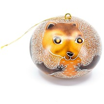 Handcrafted Carved Gourd Art Squirrel with Nut Animal Ornament Made in Peru