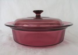 Corning Cranberry, Visions V-33, 2 1/2 Quart Covered Casserole - $20.00