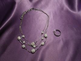 Rhinestone Studded Beaded 3 Strand Chain Necklace W/ Loop Earring Stud - $29.70