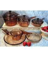 Corning Visions Brown Glass Cookware Saucepans Skillets Double Boiler 10... - $359.99