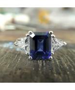 4.20Ct Emerald Cut Blue Sapphire Three Stone Engagement Ring 14K White G... - $127.49
