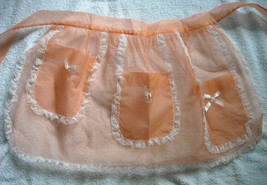 New Womens Nylon Lace Orange Apron Half Waist 2 pockets Made in USA - $29.65