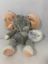 Prestige Baby Toy Corp gray pink white elephant plush bow ribbon tail be... - $19.79