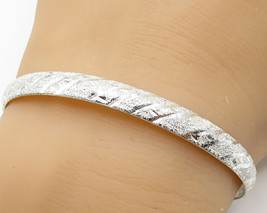 925 Silver - Vintage Curved Sand Blasted Pattern Bangle Bracelet - B2903 - $32.49