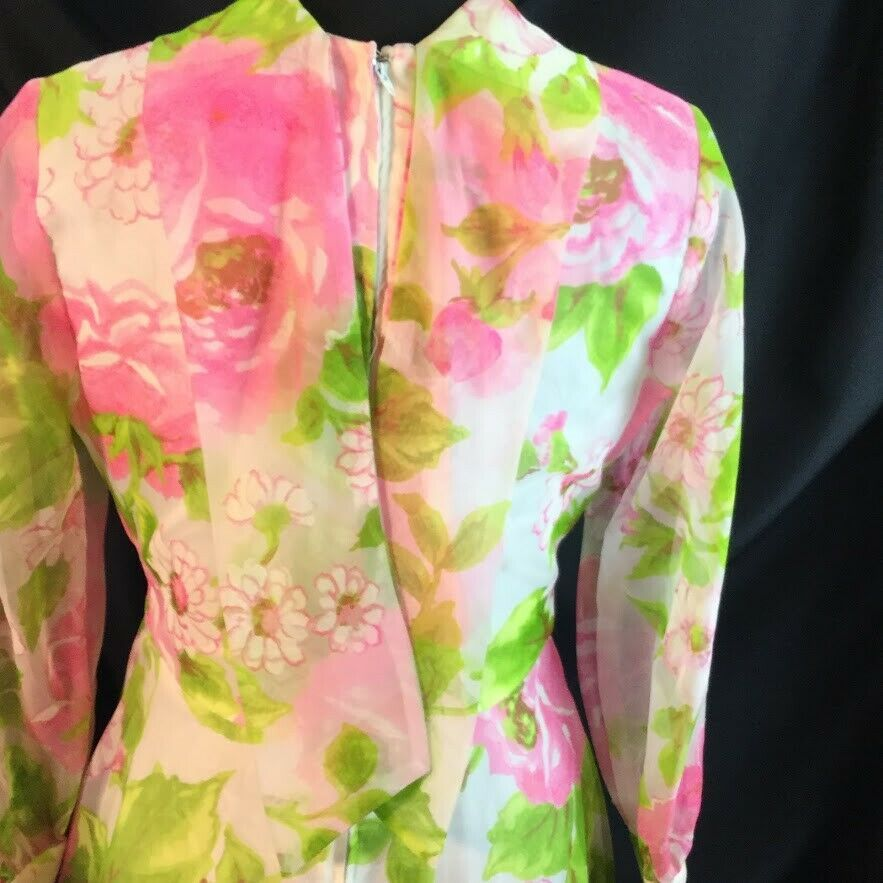 Bullocks Wilshire Pink Rose Floral Maxi Dress Back Tie Collar Shear Overlay M/L