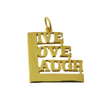 24K Yellow Gold Pltd Live Love Laugh Charm Jewelry Depression Live life ... - $19.42