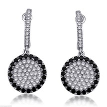 Black And White Cubic Zirconia Pave Set Round Shaped Dangle Sterling Sil... - $49.33