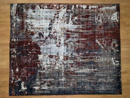 8'x10' HandKnotted Wool And Silk Abstract Design Oriental Rug G43894 - $2,406.40